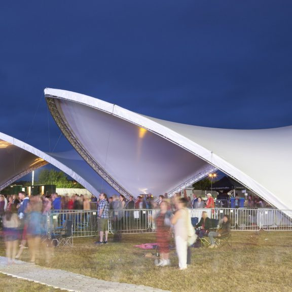 S5000 Saddlespan outdoor event structure: Two canopies for crowd cover