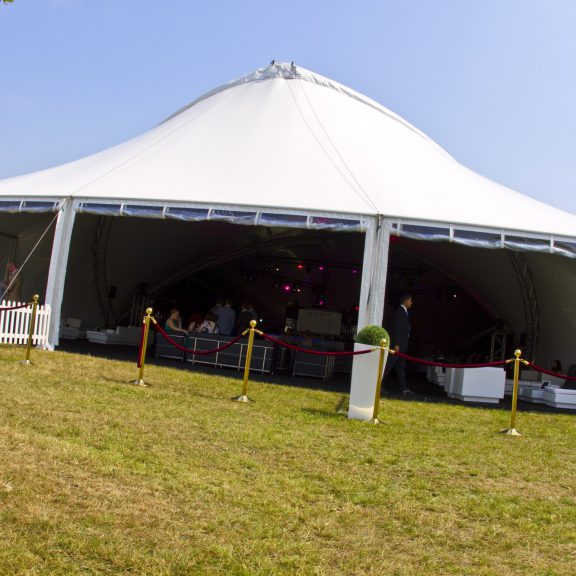 S5000 Trispan with portico end ideal for corporate event temporary structure