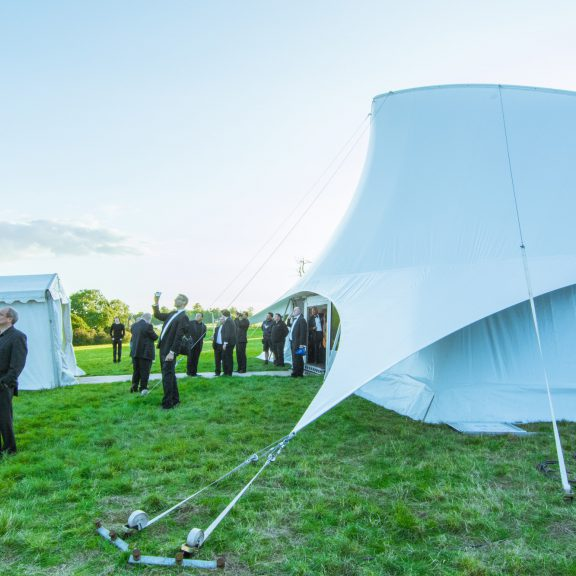 S5000SL Singlespan with opera end ideal for corporate event temporary structure with aluminium doors